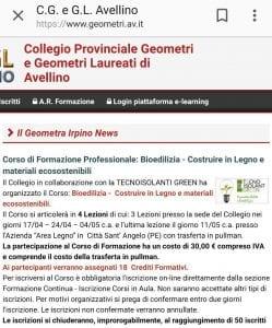 Corso di formazione professionale in collaborazione con Collegio Geometri di Avellino
